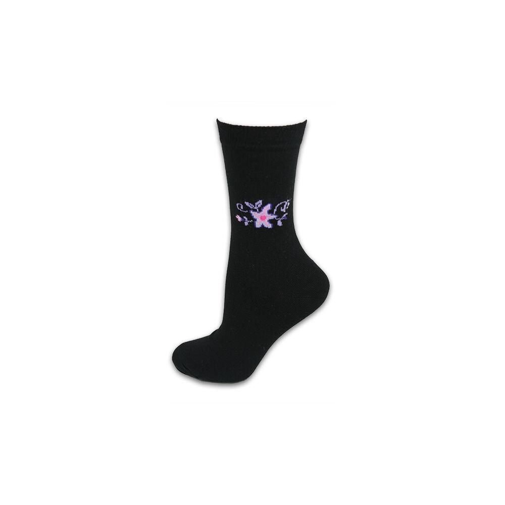 Női zokni - pamut bokazokni - 35-38 - fekete virágmintás - Evidence