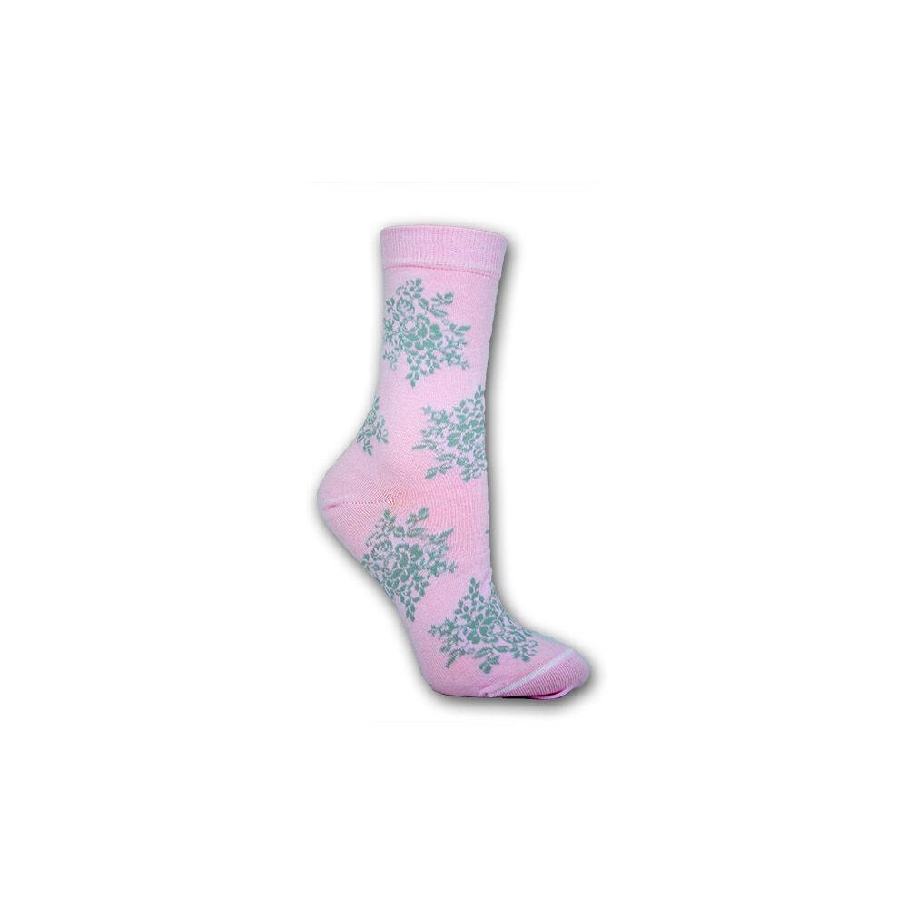 Női zokni - pamut bokazokni - 39-42 - rózsaszín nagy virágmintás - Evidence
