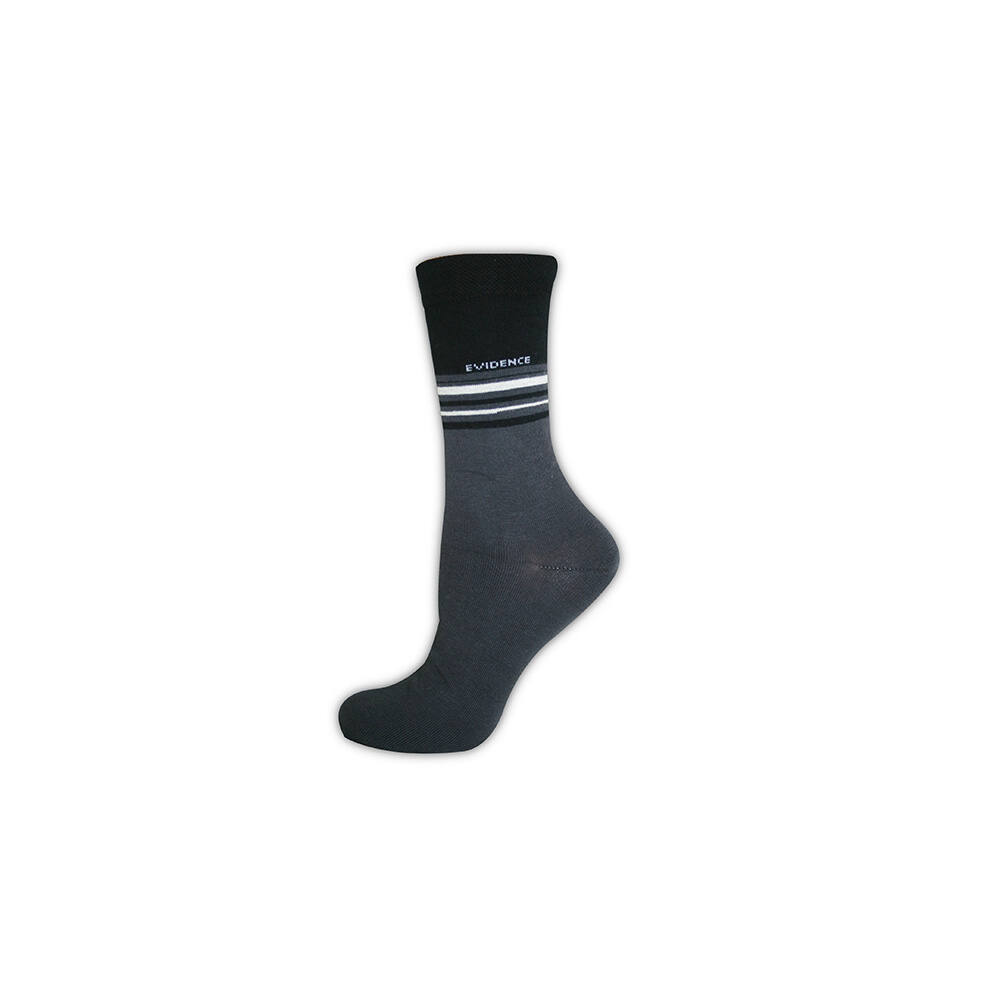 Férfi zokni - pamut bokazokni - 39-42 - sötétszürke csíkos - Evidence