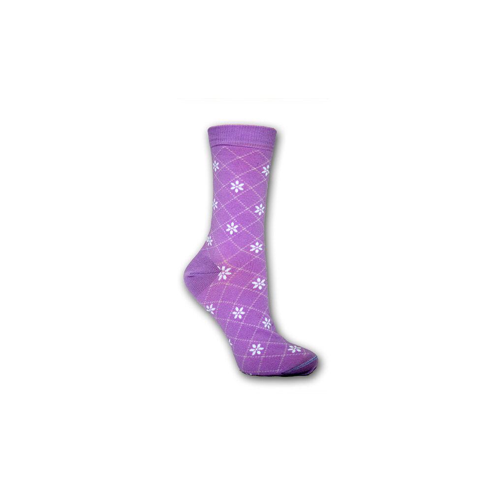 Női zokni - pamut bokazokni - 39-42 - lila apró virágmintás - Evidence