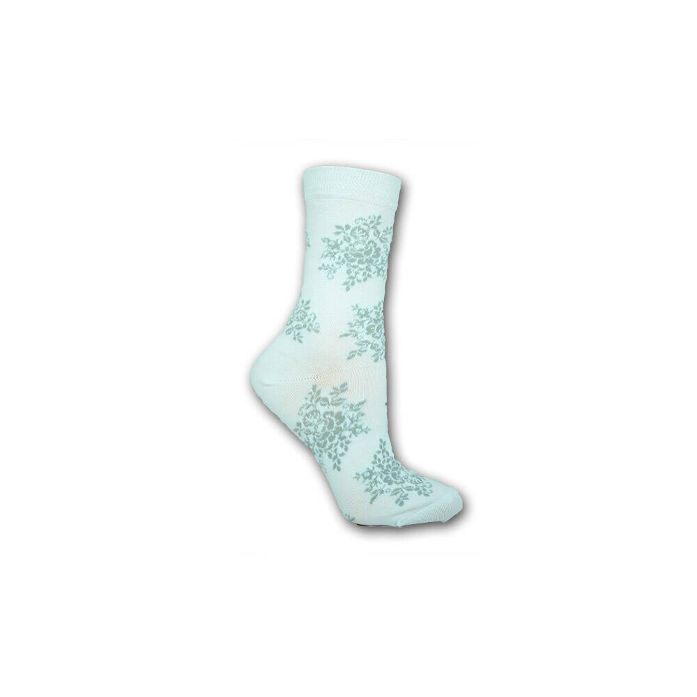 Női zokni - pamut bokazokni - 39-42 - fehér nagy virágmintás - Evidence